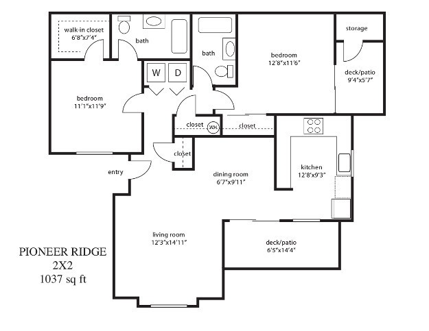 2 Bed / 2 Bath Floor Plan