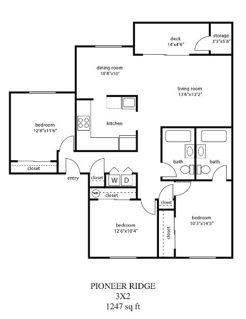 3 Bed / 2 Bath Floor Plan